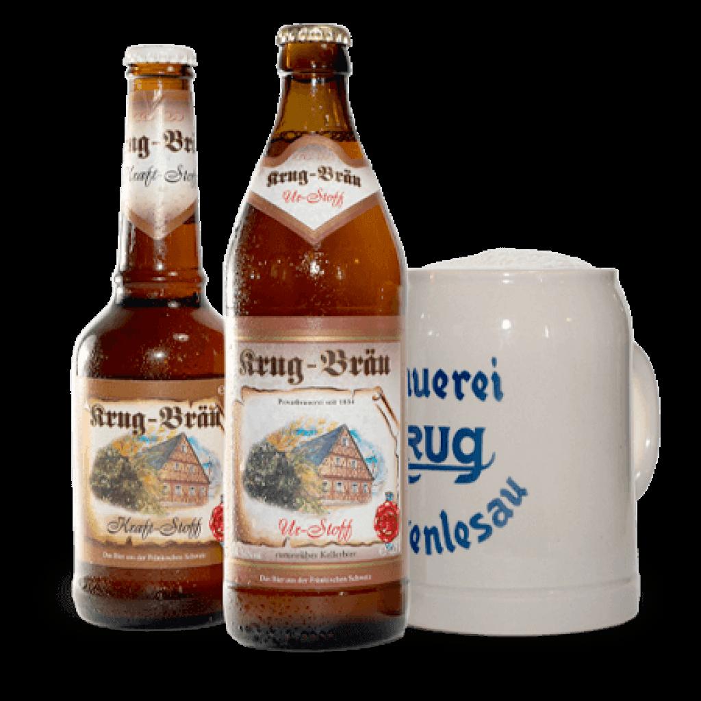 Krug-Braeu Ur-Stoff Flaschen + Gläser