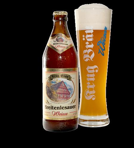 Krug-Braeu Weisse Flaschen + Gläser